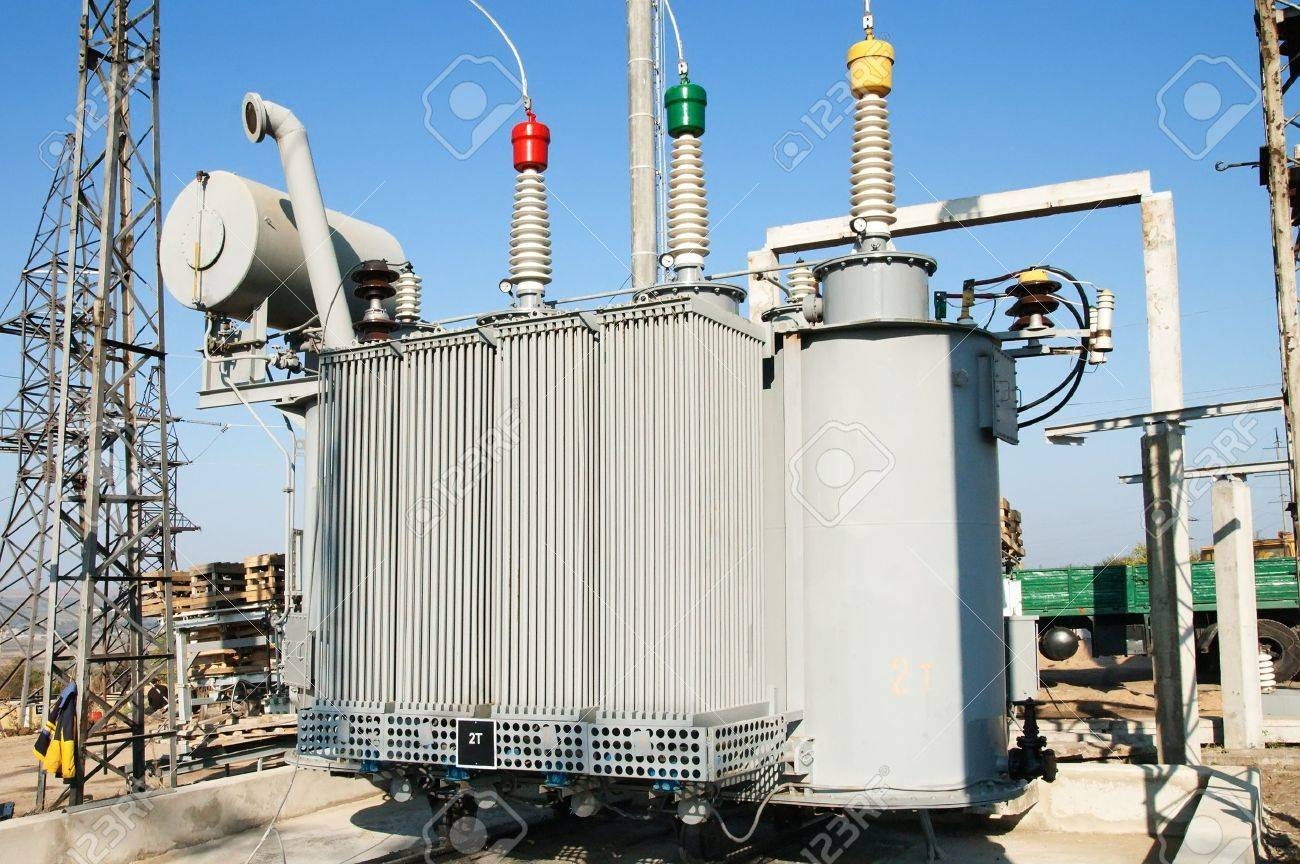 transformer on high power station. High voltage Stock Photo - 7852162