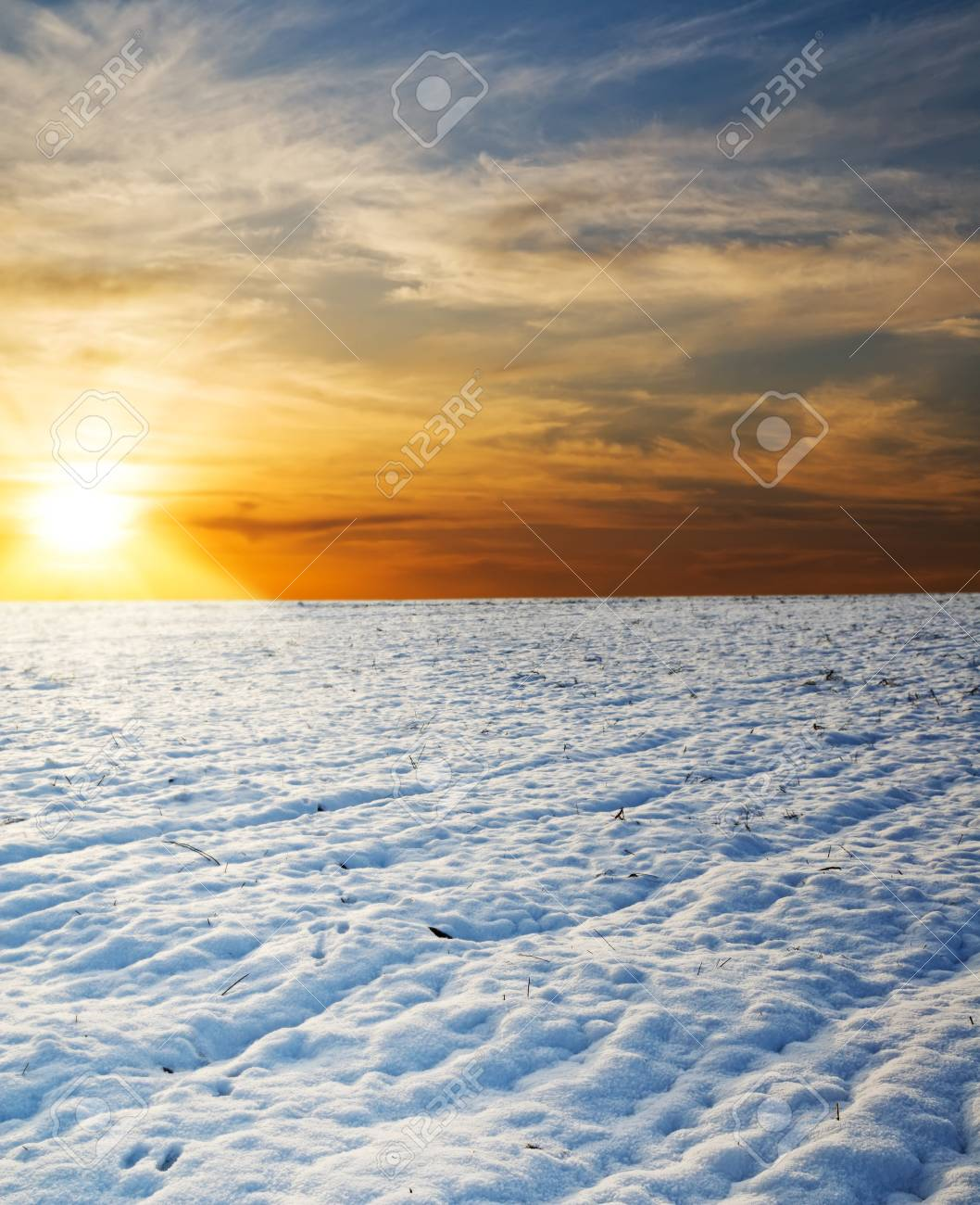 sunset over field under snow Stock Photo - 8764504