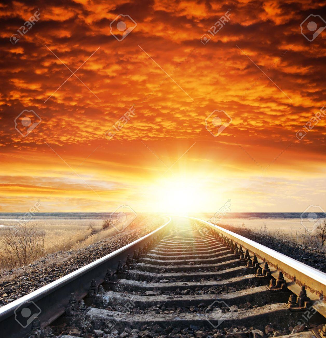 railway to sunset - 8949161