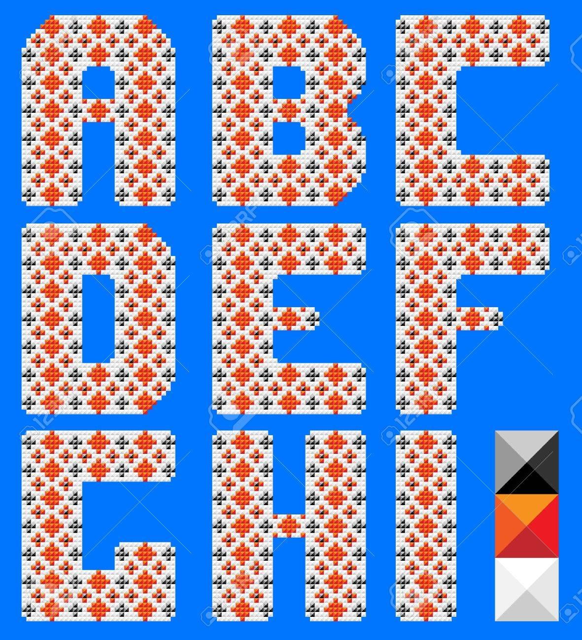 Alfabeto Latino Como Cruz Patrón De Color. Diseño Ucraniano. Fondo ...