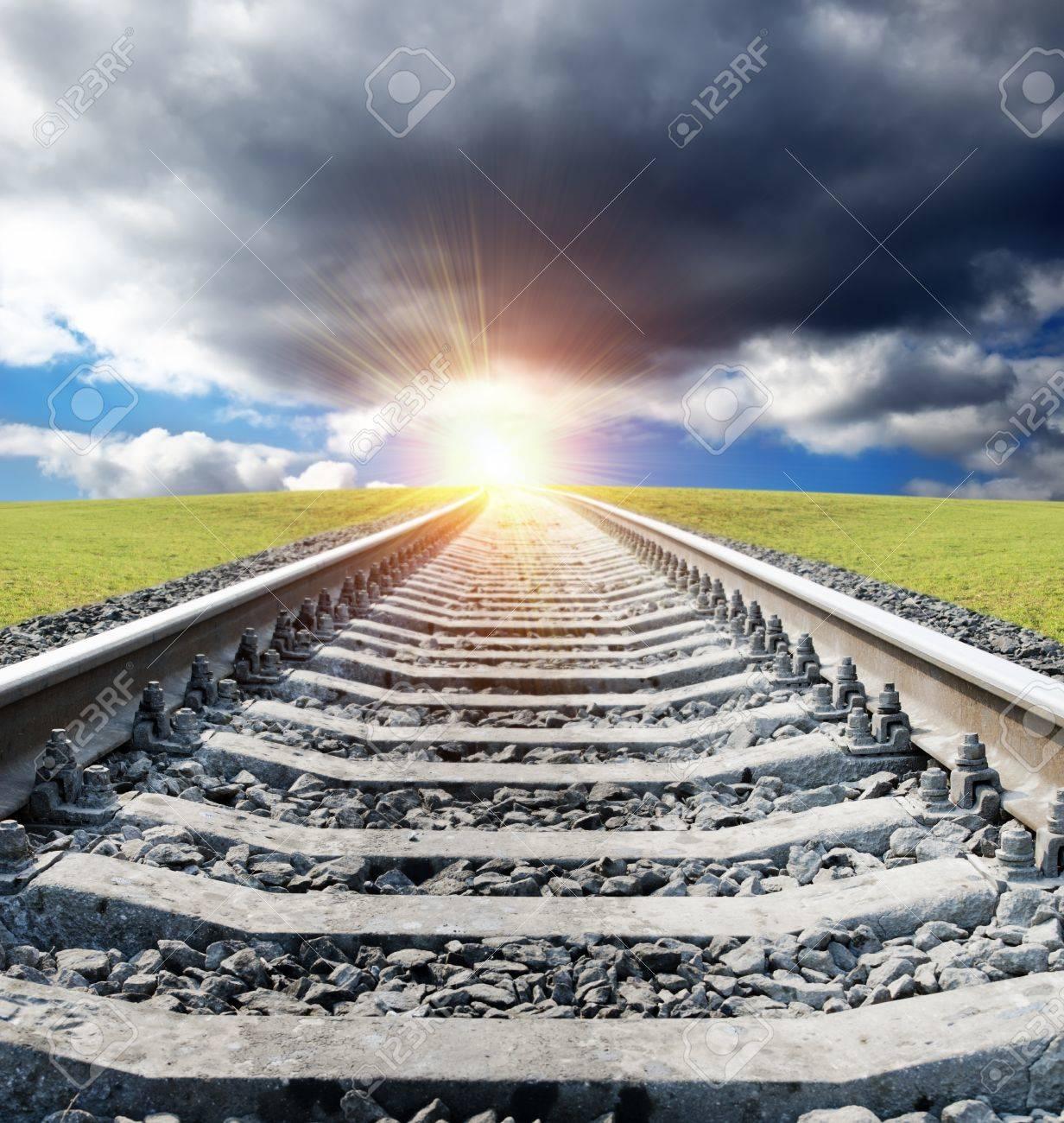 railway to sunset Stock Photo - 9340046