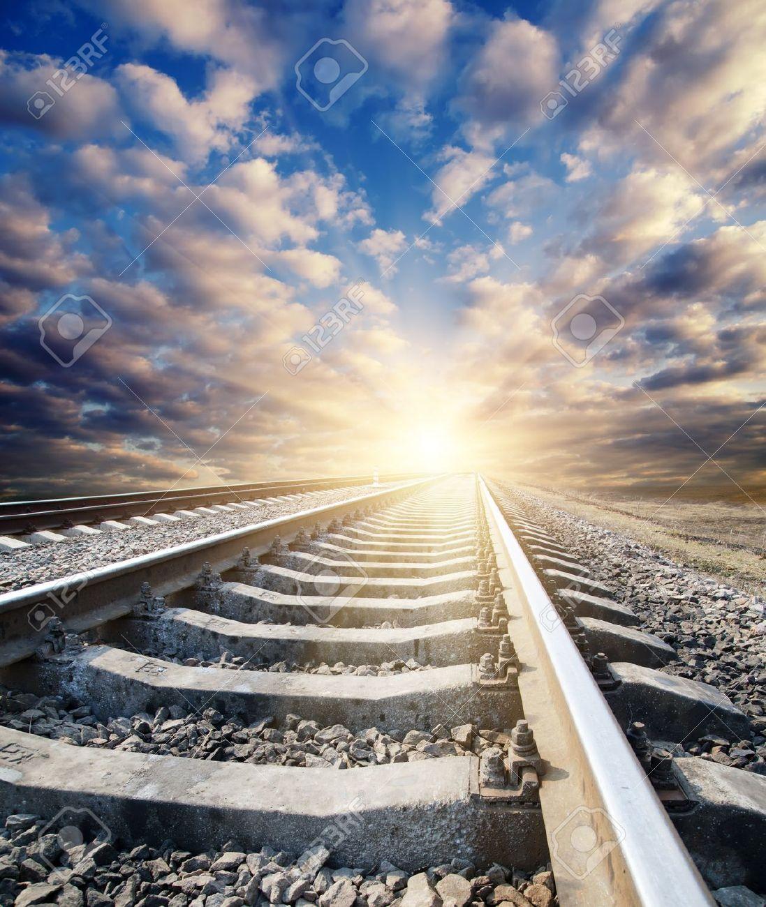 railway to sunny horizon Stock Photo - 9470498
