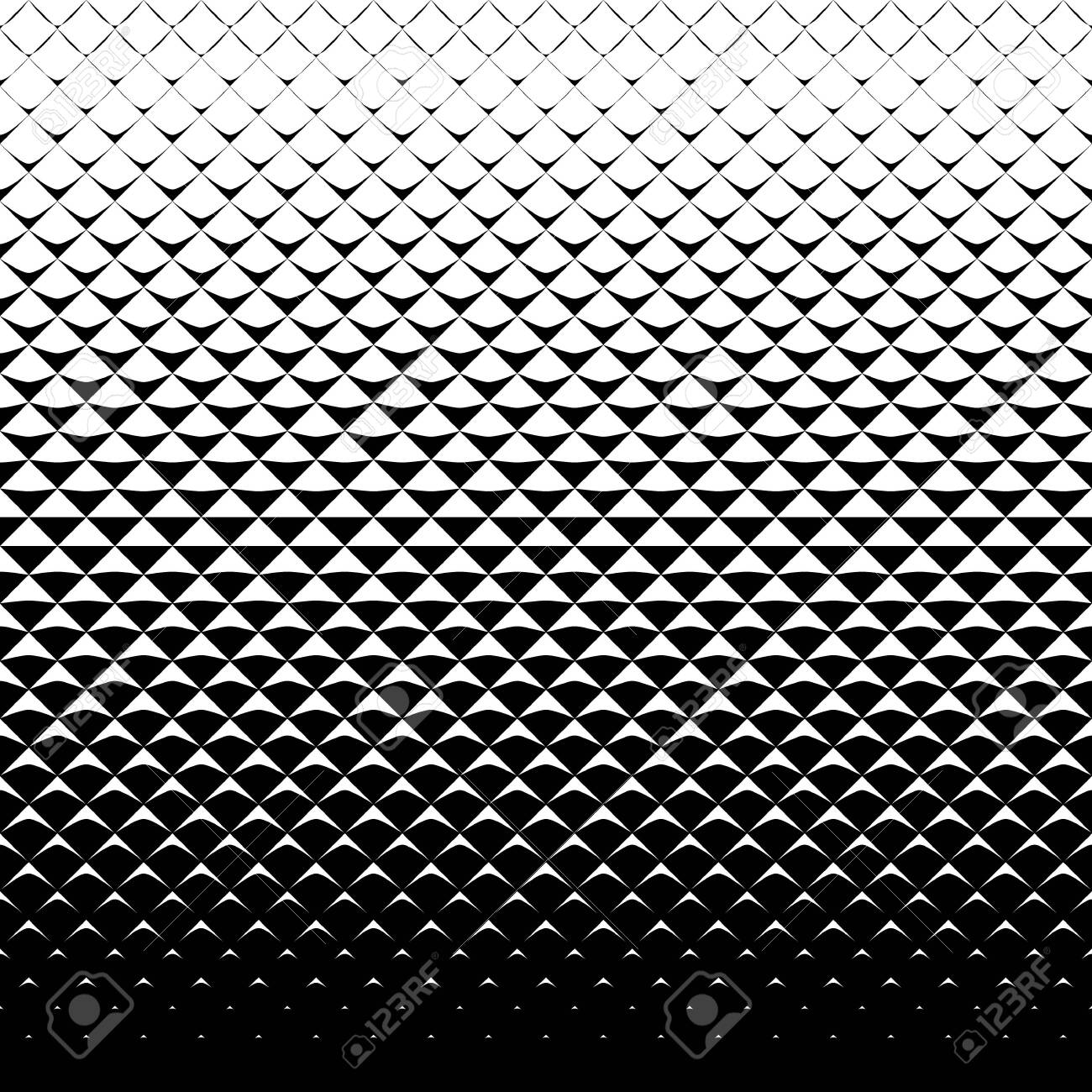 Abstract monochrome background with triangles. Seamless halftone pattern. - 129736505