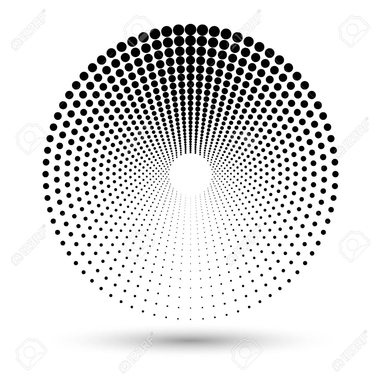 Halftone dots in circle form. Round icon. Vector dotted illustration as design element - 149330697