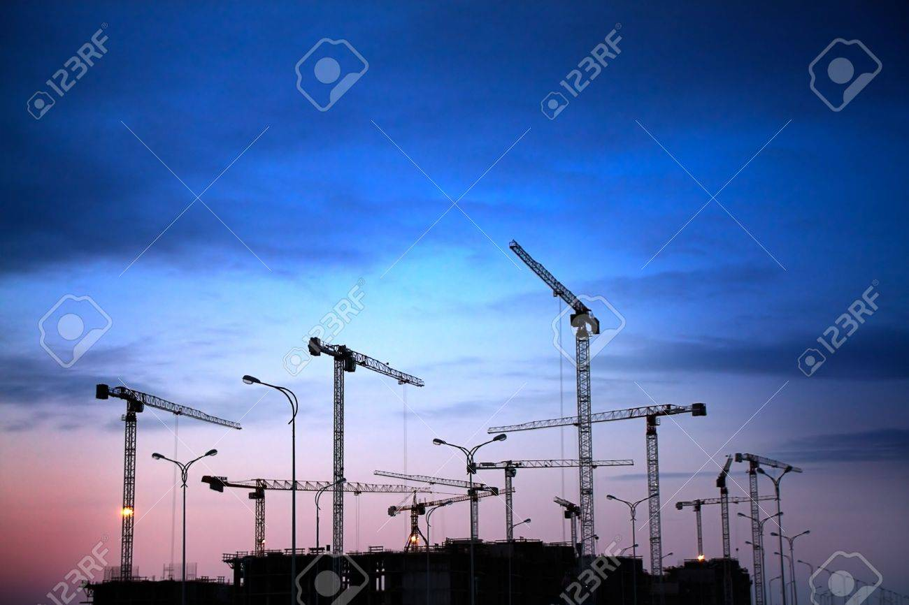 construction site on a sunset Stock Photo - 13422110