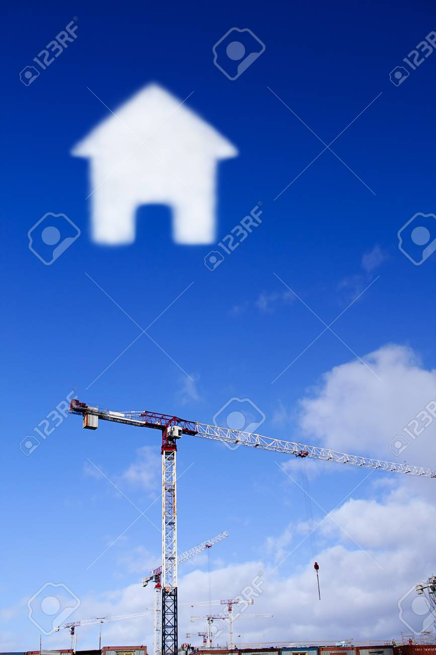 construction site in a clear day with cloud in the shape of the house Stock Photo - 13631504