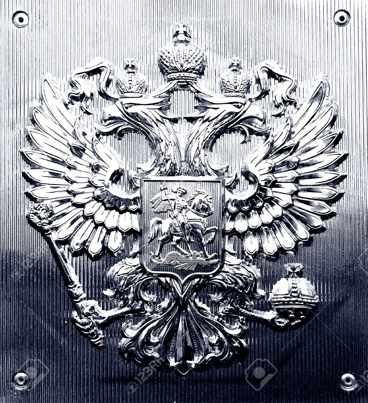 The Russian coat of arms on a metall tablet. Stock Photo - 16565740