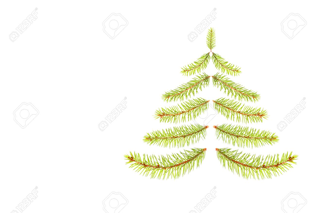 Fir Branches In The Form Of A Xmas Tree Isolated On White Background ...