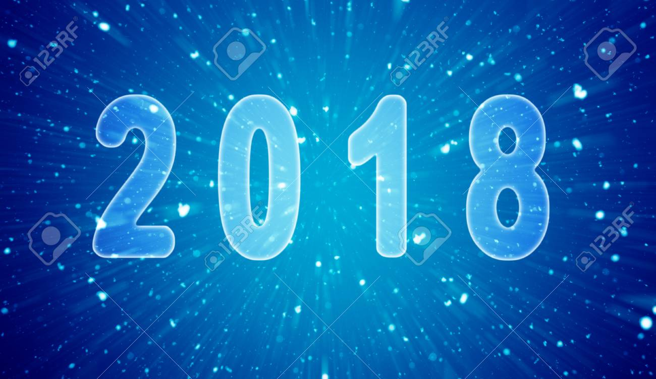 happy new year theme 2018 on the snowfall background stock photo 88712734