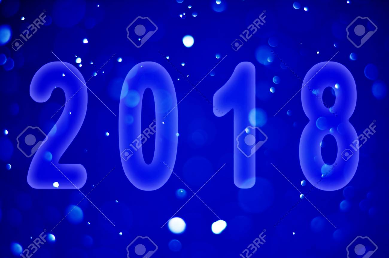 happy new year theme 2018 on the snowfall background stock photo 89367616