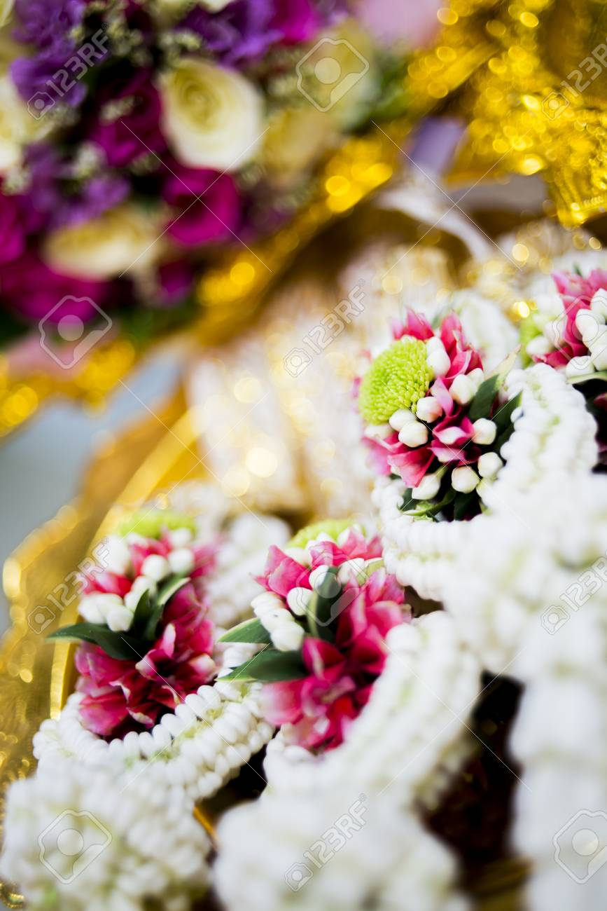 Flower Garland Made From White Flower And Rose Use In Wedding
