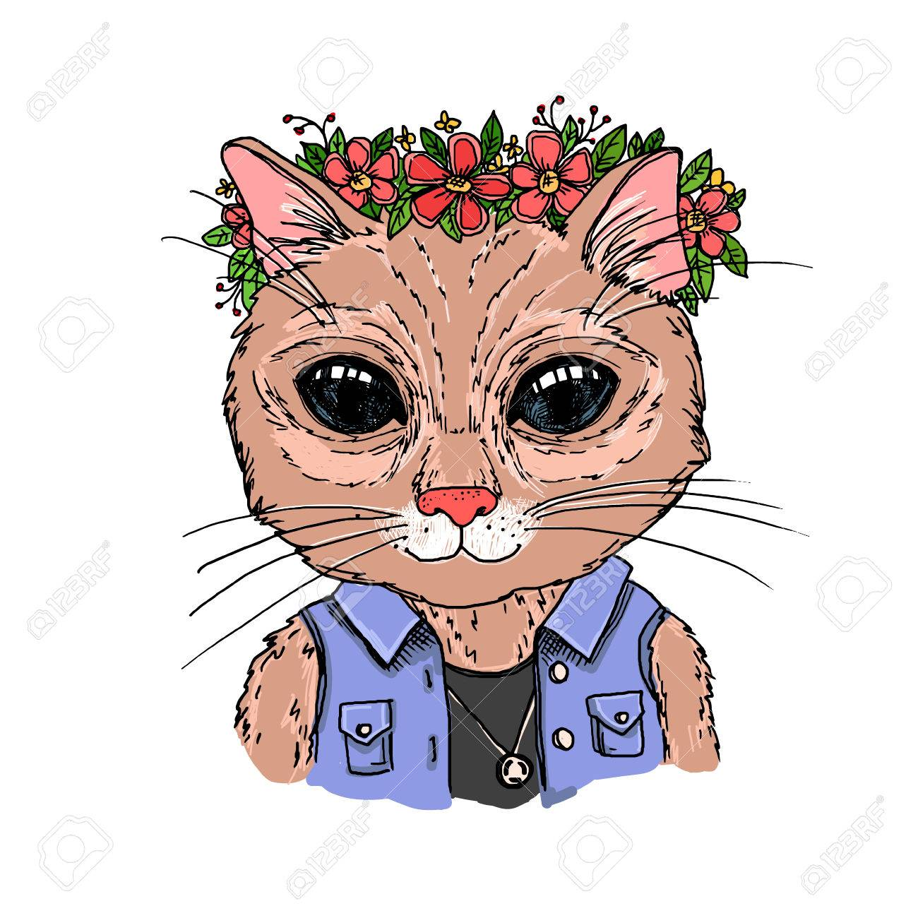 Isolated On White Background Hand Drawn Vector Illustration Hipster Cat With Wreath Of Flowers Vintage
