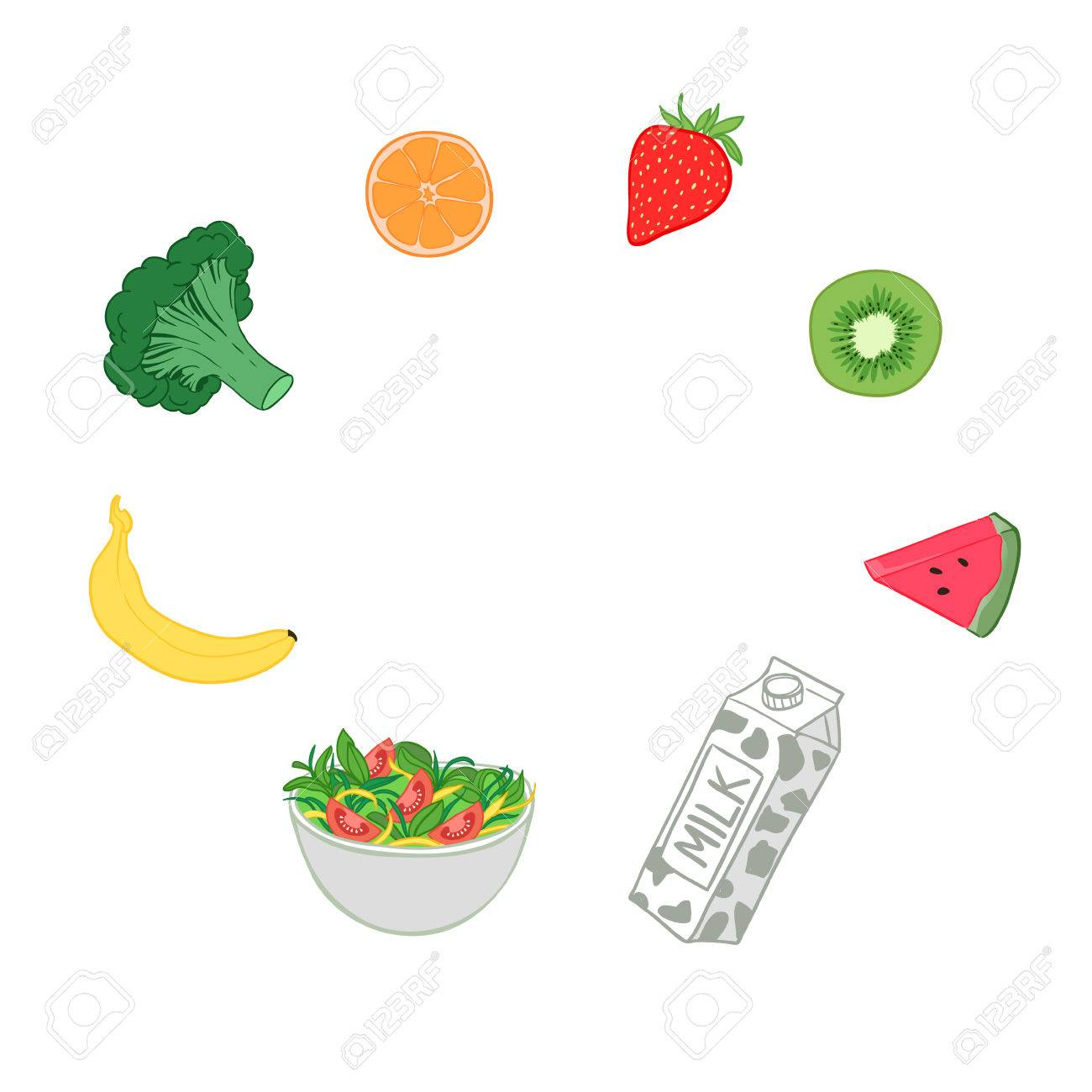 手書きのベクトル イラスト 健康的な食事果物と野菜のイラスト素材
