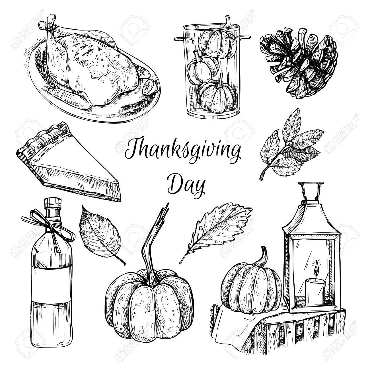 Hand Drawn Vector Illustration Thanksgiving Day Design Elements