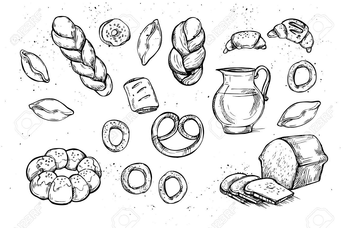 手書きのベクトル イラスト パン屋さん 食料品店 有機食品 ヴィンテージのイラストのセットです のイラスト素材 ベクタ Image