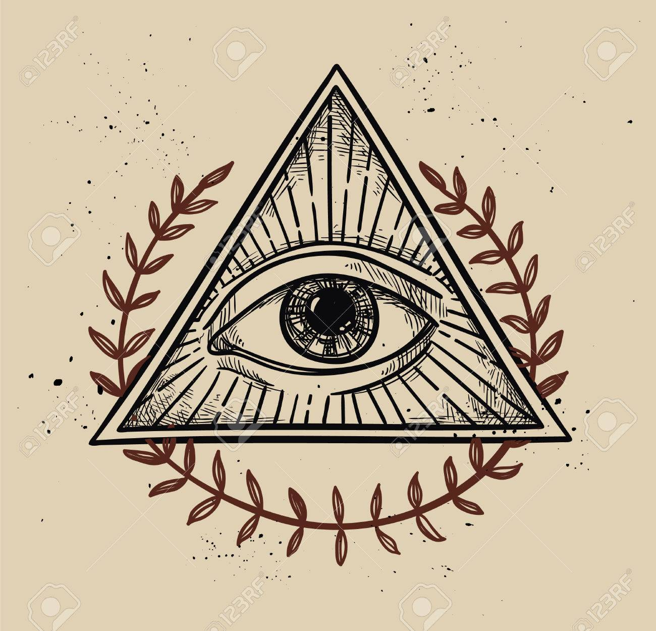 0a7d7fe1fd31f Hand drawn vector illustration - All seeing eye pyramid symbol. Freemason  and spiritual. Vintage