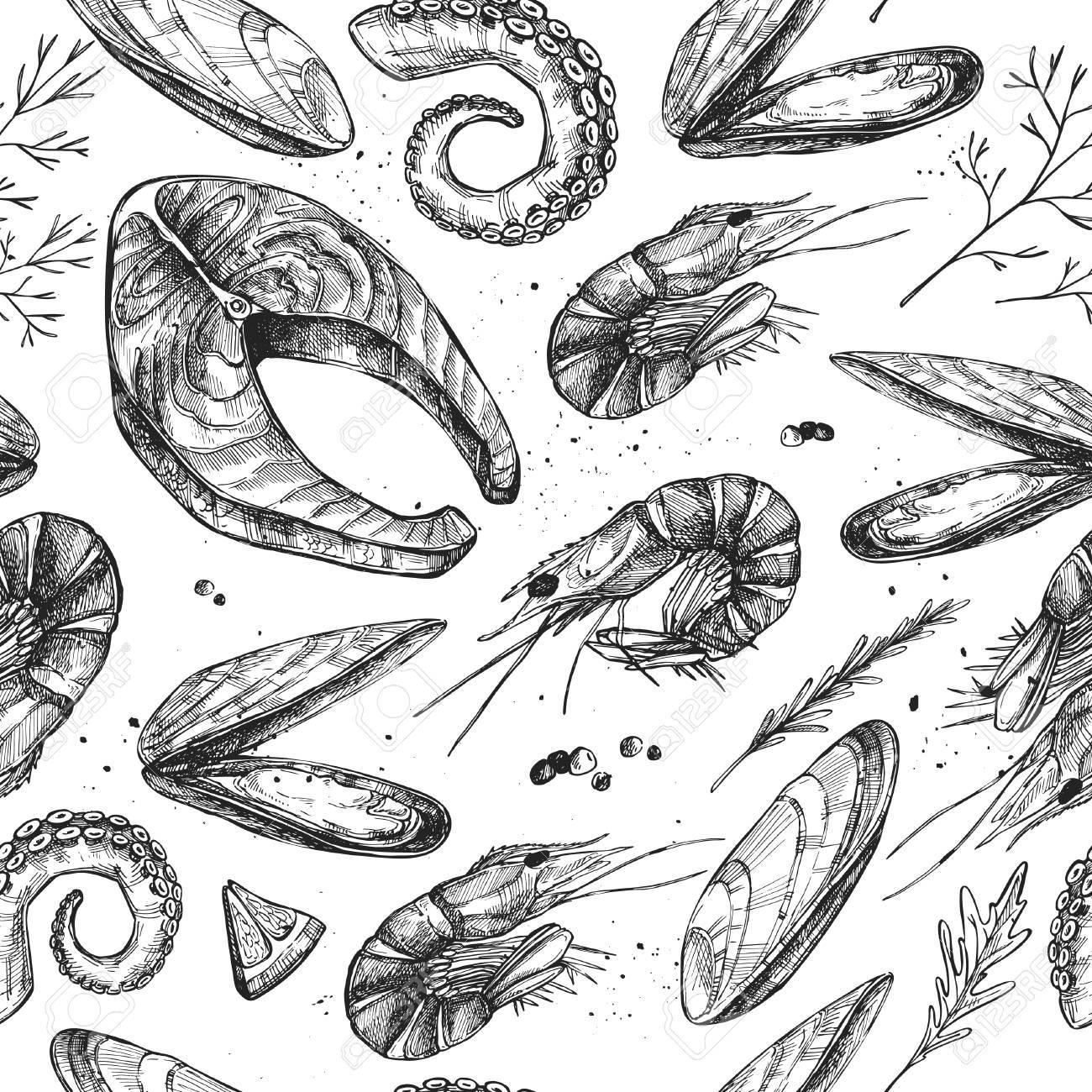 Mano Vector Dibujado - Patrones De Costura Con Mariscos (salmón ...