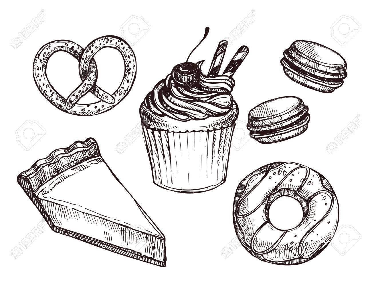 Hand Gezeichnet Vektor Illustration Set Mit Sussen Und Dessert