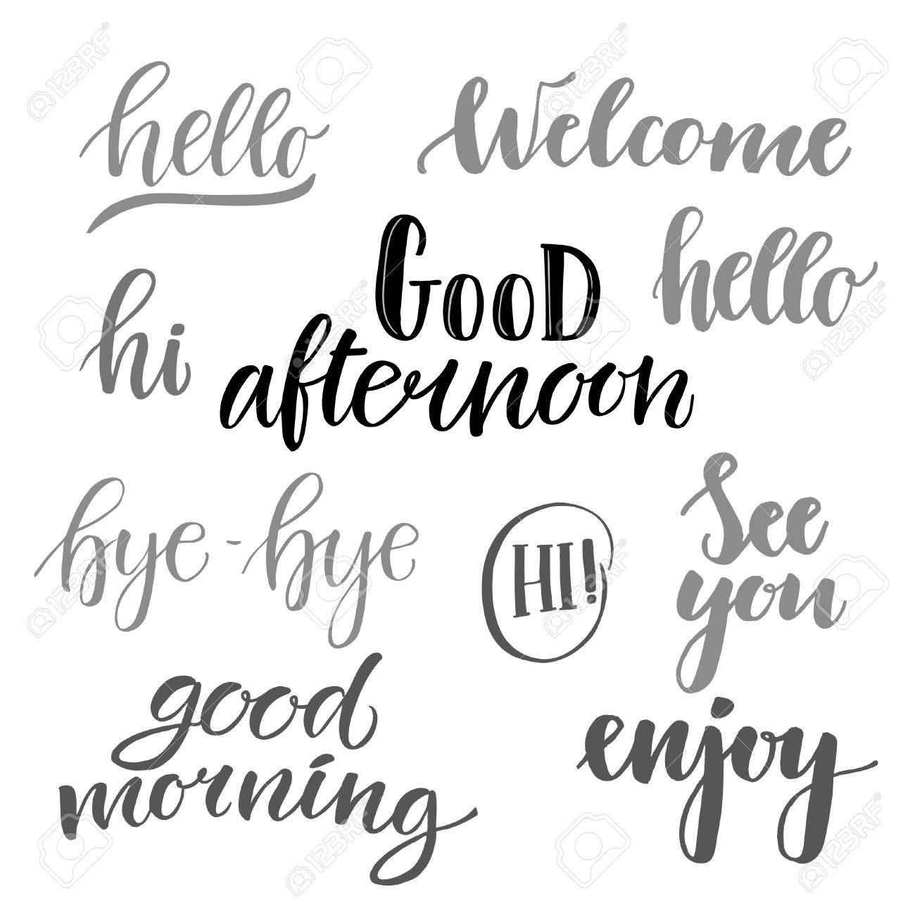 Vector Illustration Hand Lettering Catchwords Hello Good