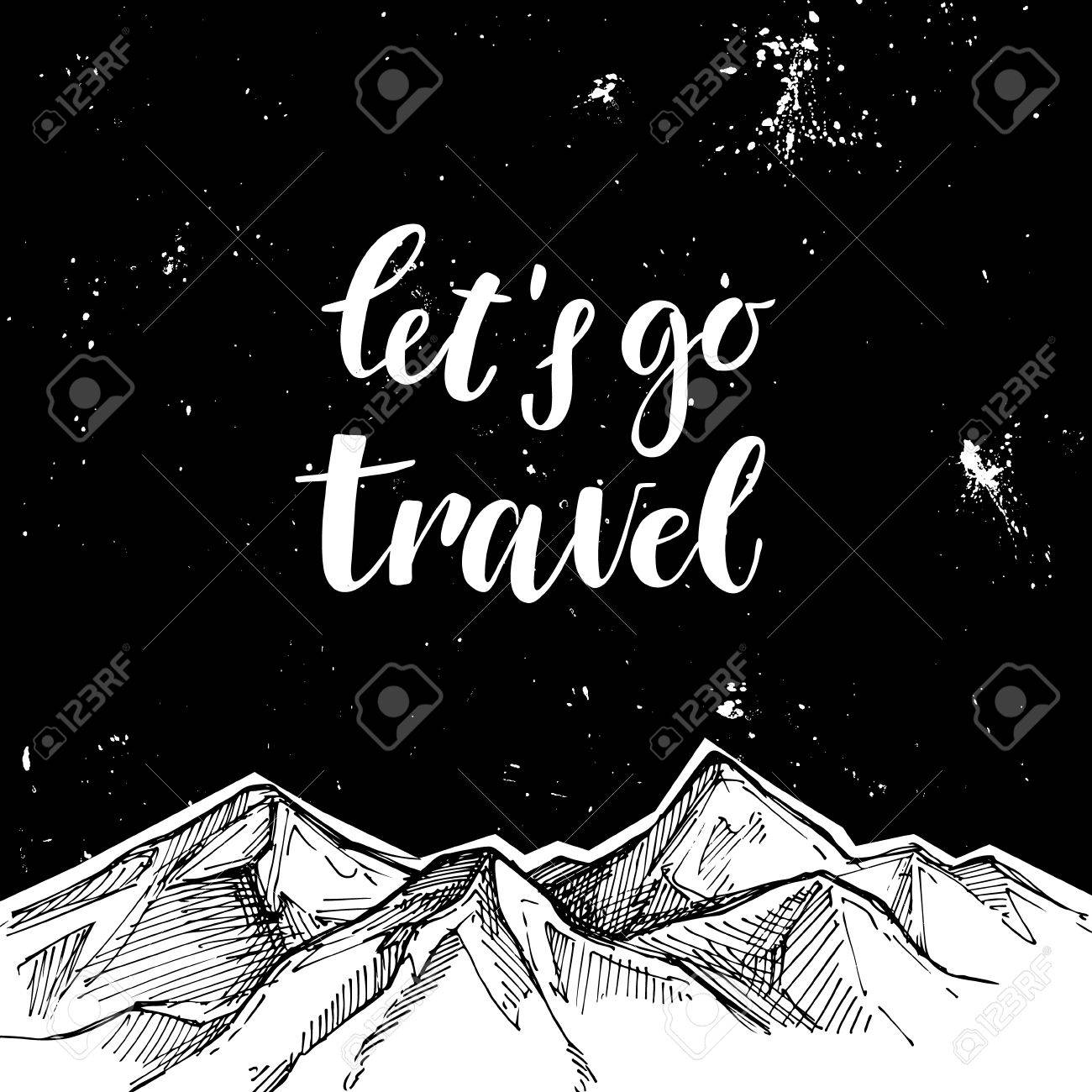 Go Style Template | Hand Drawn Vector Illustration Mountains And Starry Sky Let S