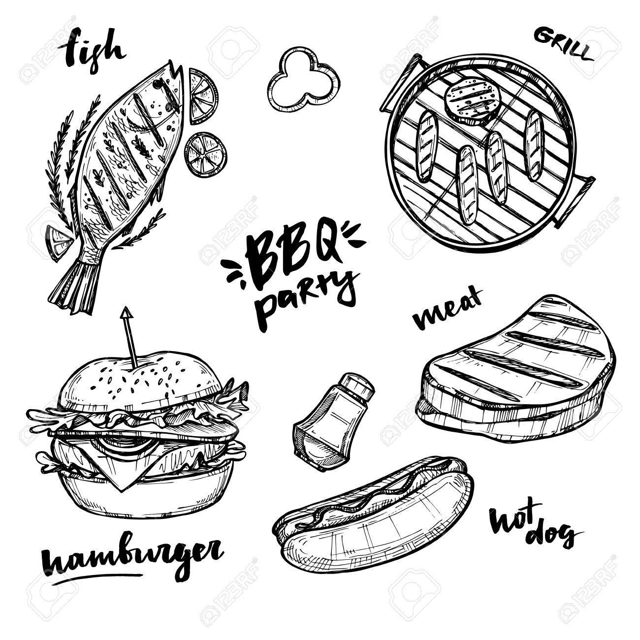 hand drawn vector illustration bbq elements grill hot dog Dog BBQing hand drawn vector illustration bbq elements grill hot dog hamburger fish