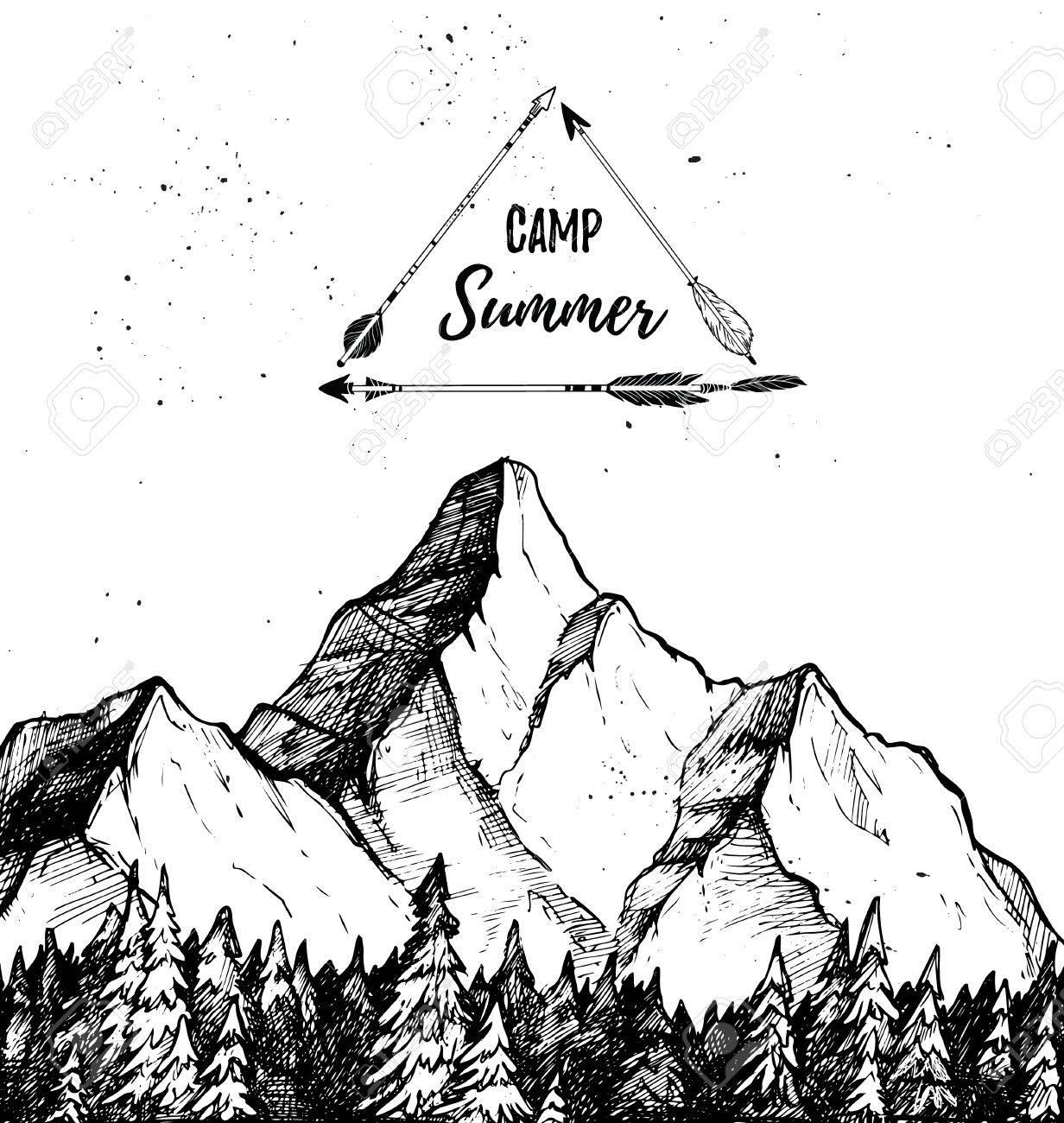 手書きのベクトル イラスト 夏のキャンプ 山と森 風景自然のイラスト素材 ベクタ Image