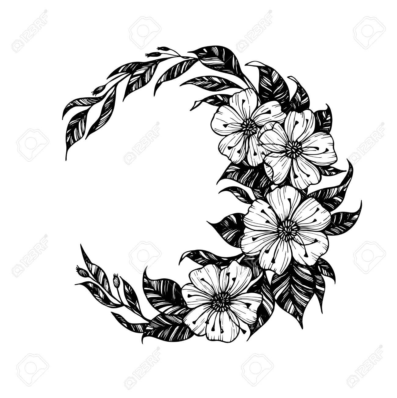 Ilustración De Dibujado A Mano Signo De La Luna Con Flores Y Hojas