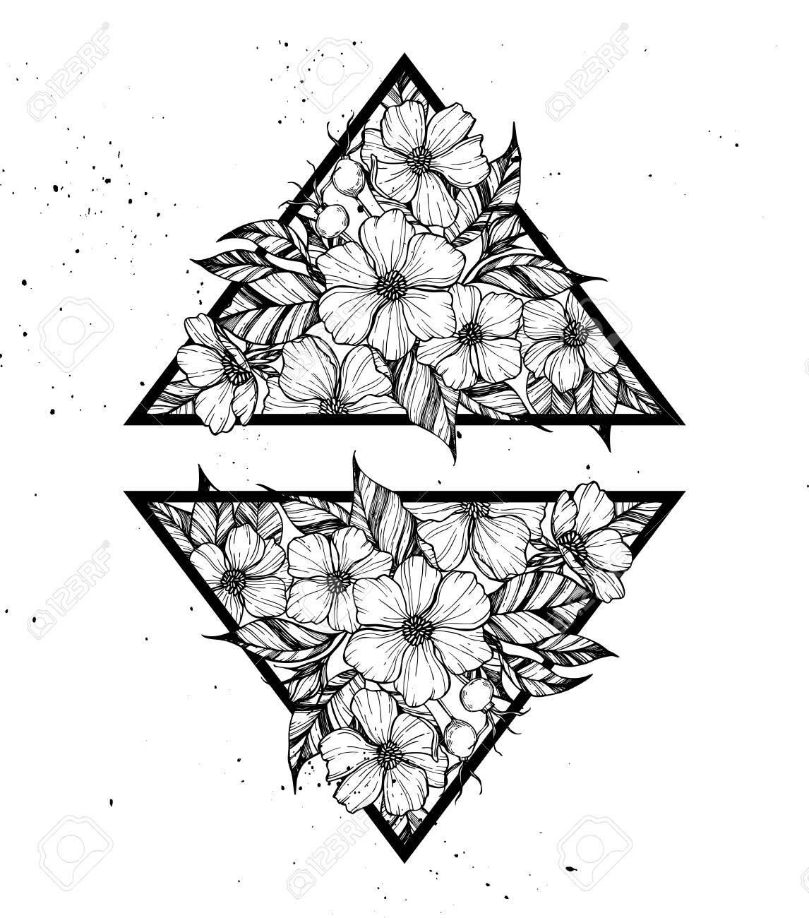 Illustration Vectorielle Dessines A La Main Triangles Avec Des