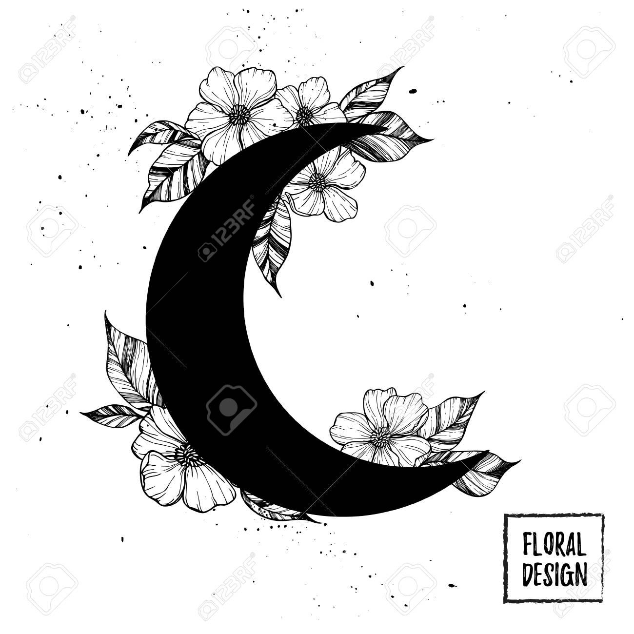 Dibujado A Mano Ilustración Vectorial Luna Con Flores Y Hojas