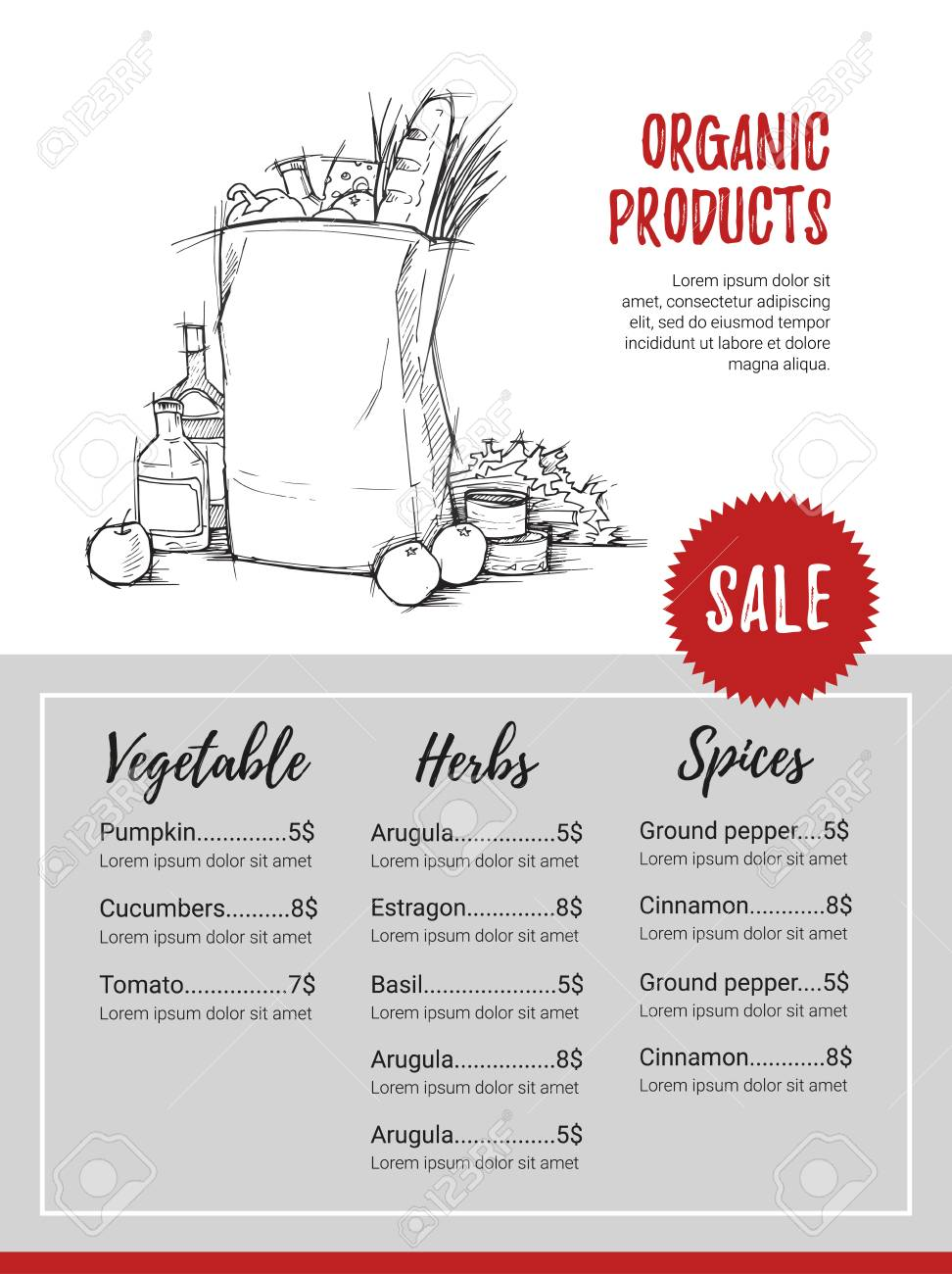 Hand Drawn Vector Flyer - Organic Products. Fresh Vegetables ...