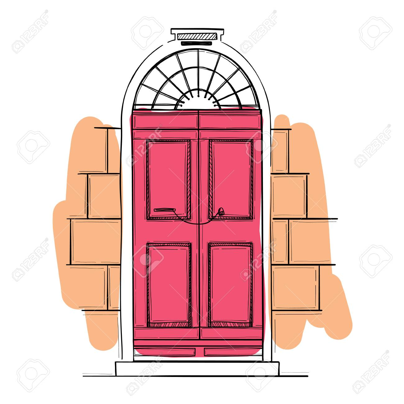 Hand drawn vector illustrations - old vintage door. Isolated on white background. - 72112262