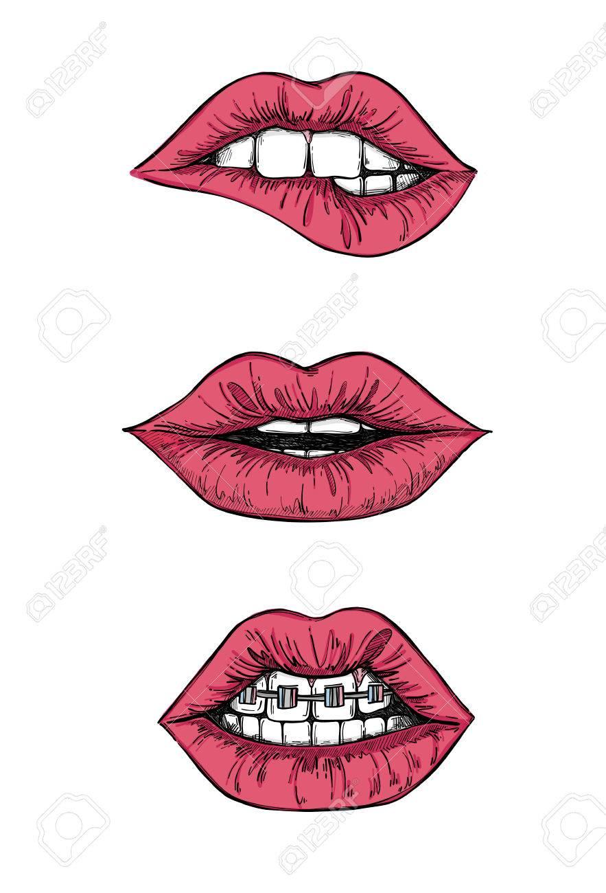 Hand Gezeichnete Illustrationen Süße Lippen Mund Mit Zähnen