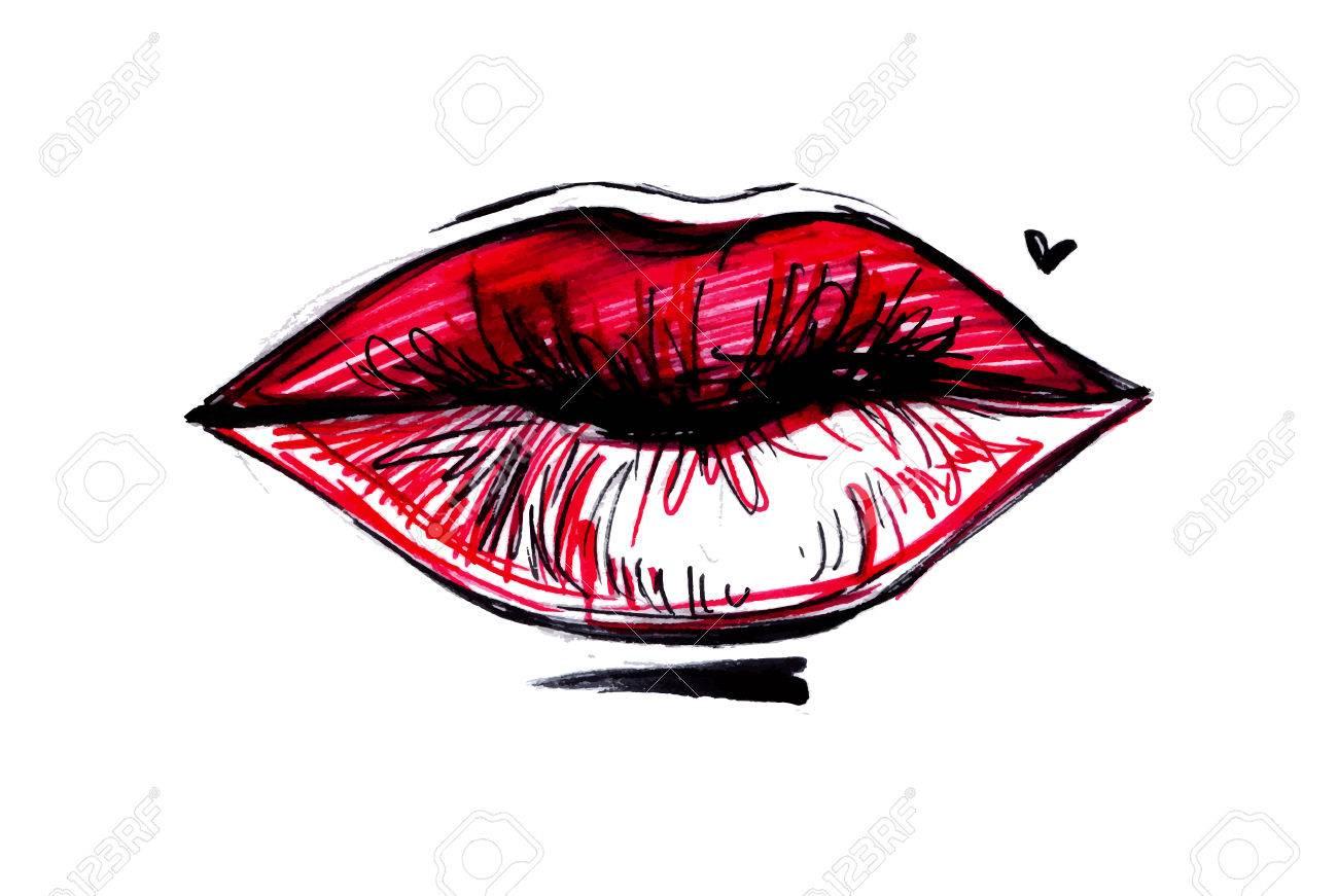 Hand Gezeichnete Illustration Süße Lippen Weibliche Rote Lippen