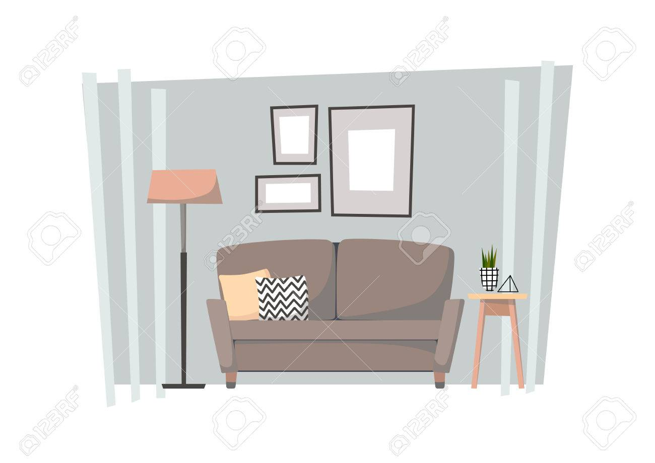 Flat Illustration   Home Interior. Cozy Living Room With Sofa, Curbstone,  Floor Lamp