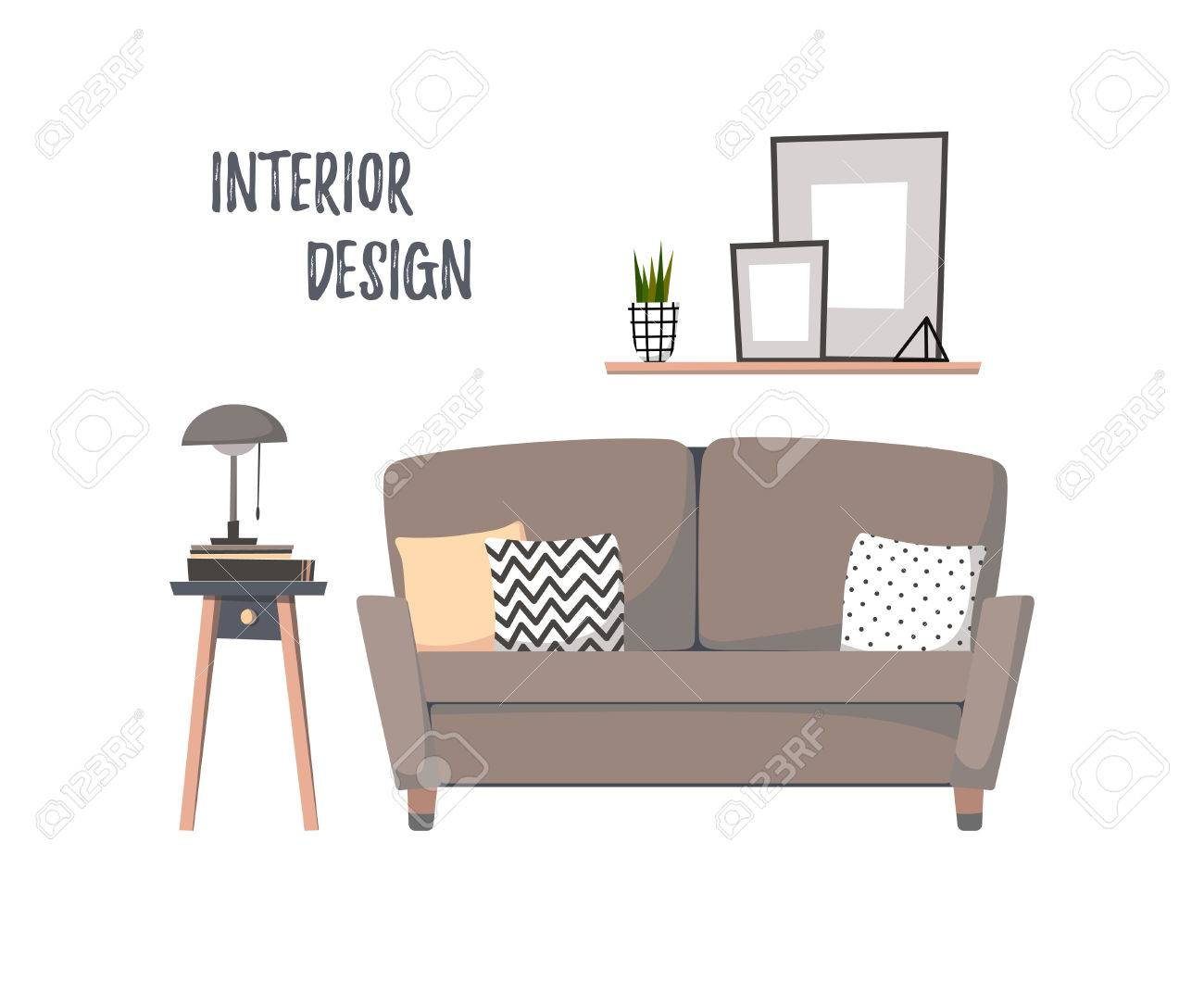 Flat Illustration   Home Interior. Cozy Living Room With Sofa, Curbstone And  Paintings.