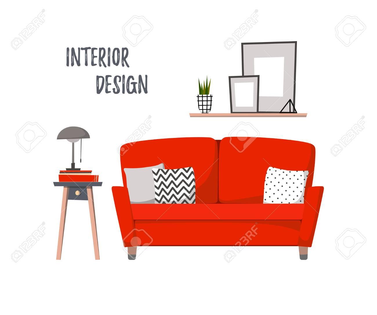 Illustration plate - intérieur de la maison. Salon confortable avec canapé  rouge, bordure et tableaux. Appartements élégants dans un style rétro.