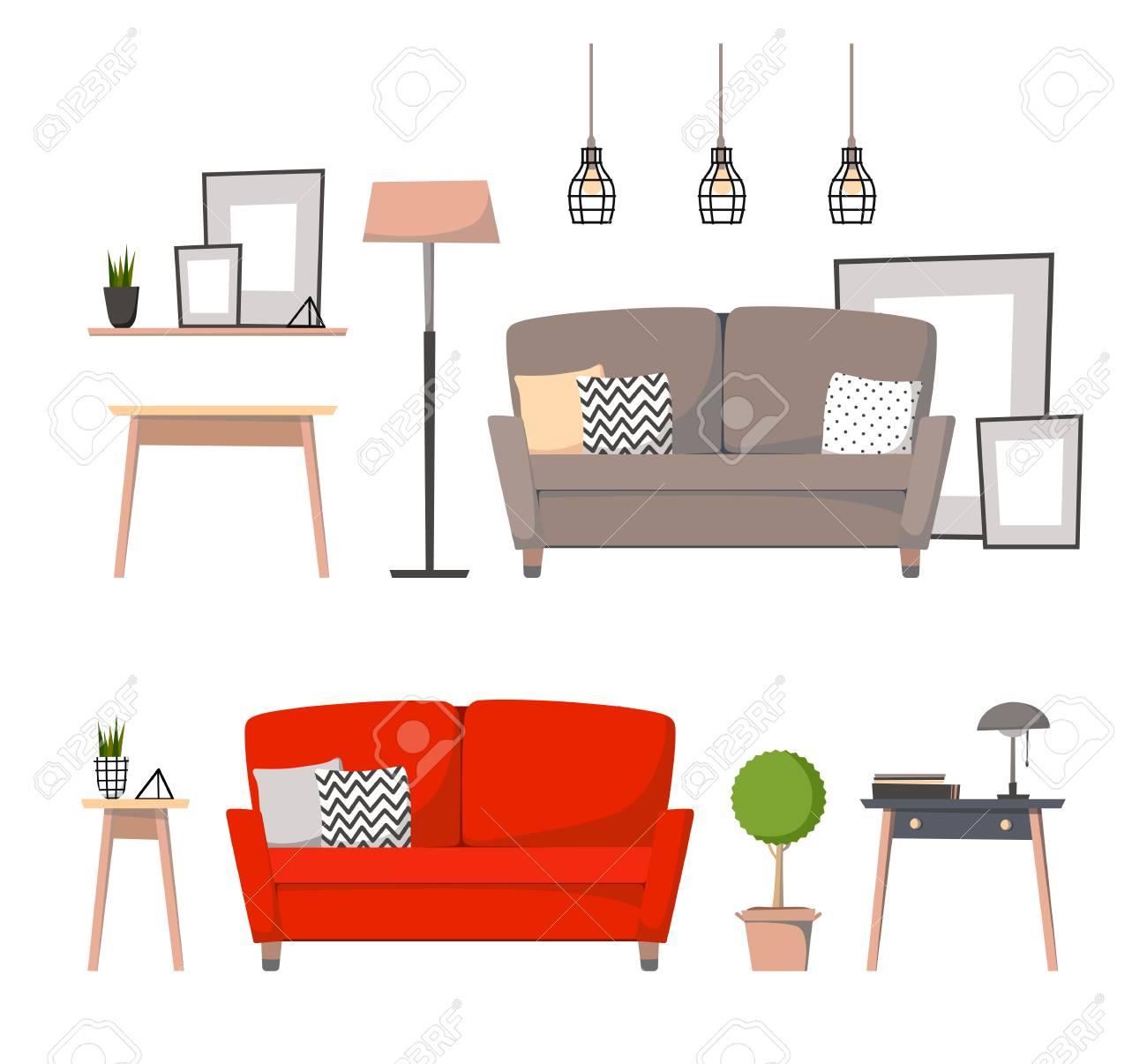 Flat Illustrations   Design Elements Of Home Interior (sofa, Curbstone,  Floor Lamp,