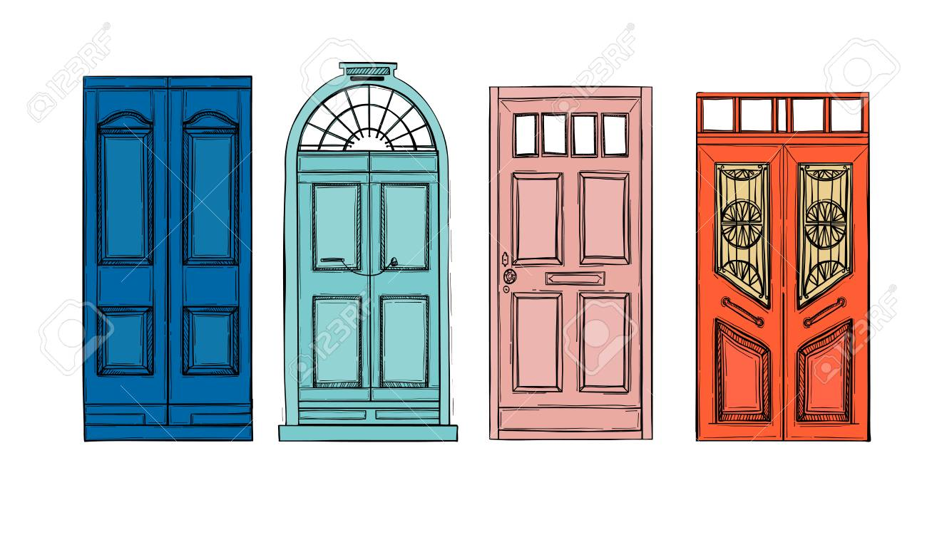 Hand drawn illustrations - old vintage doors. Isolated on white background. Stock Vector -  sc 1 st  123RF.com & Hand Drawn Illustrations - Old Vintage Doors. Isolated On White ...