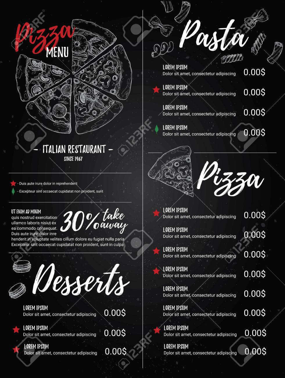 Hand Drawn Illustration Italian Menu Pasta And Pizza Perfect Royalty Free Cliparts Vectors And Stock Illustration Image 72795409