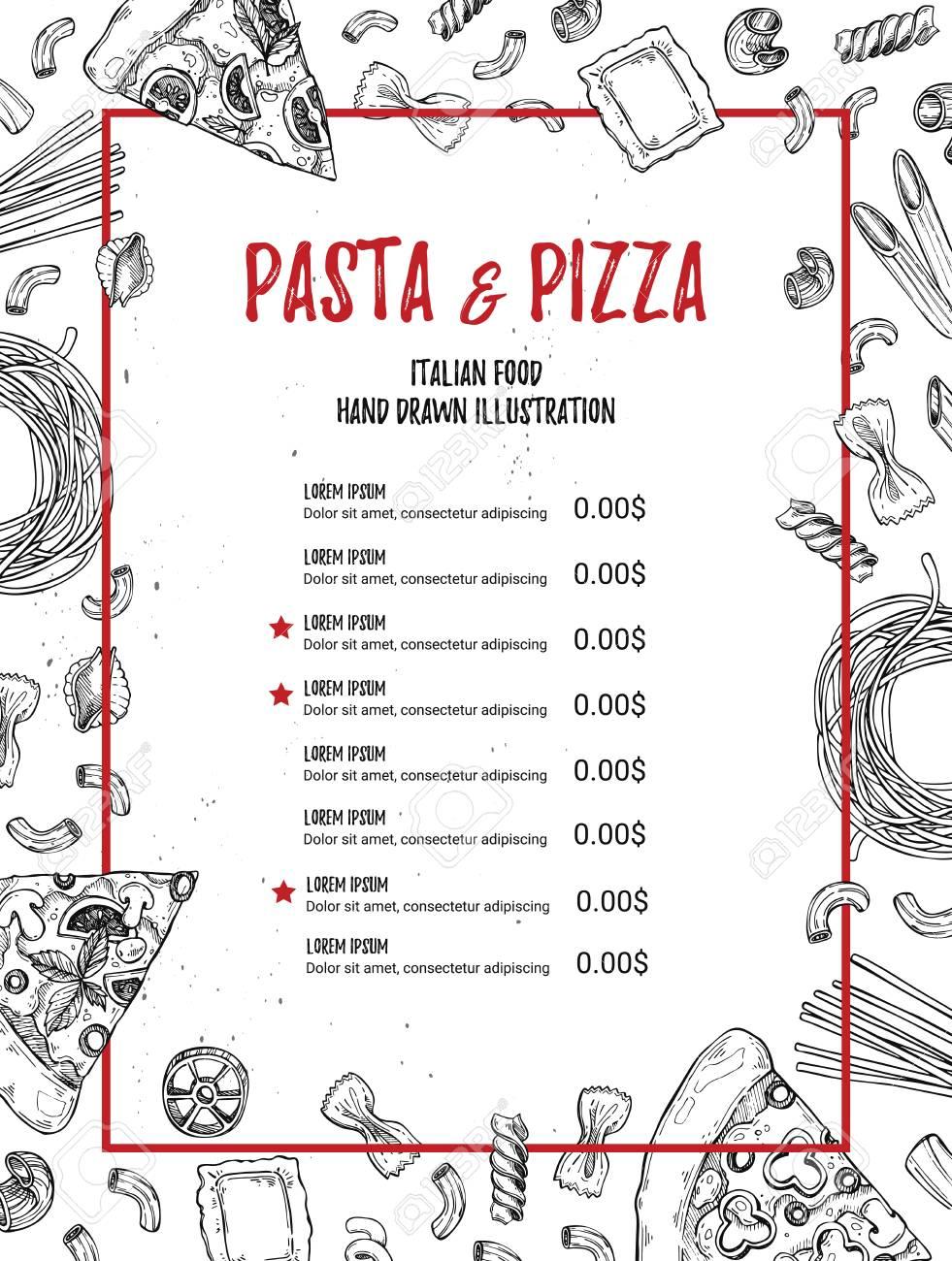 手描きイラスト イタリアン メニューパスタとピザレストラン