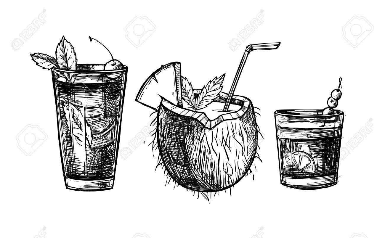 手描きのベクトル イラスト アルコールとノンアルコールの夏のカクテル