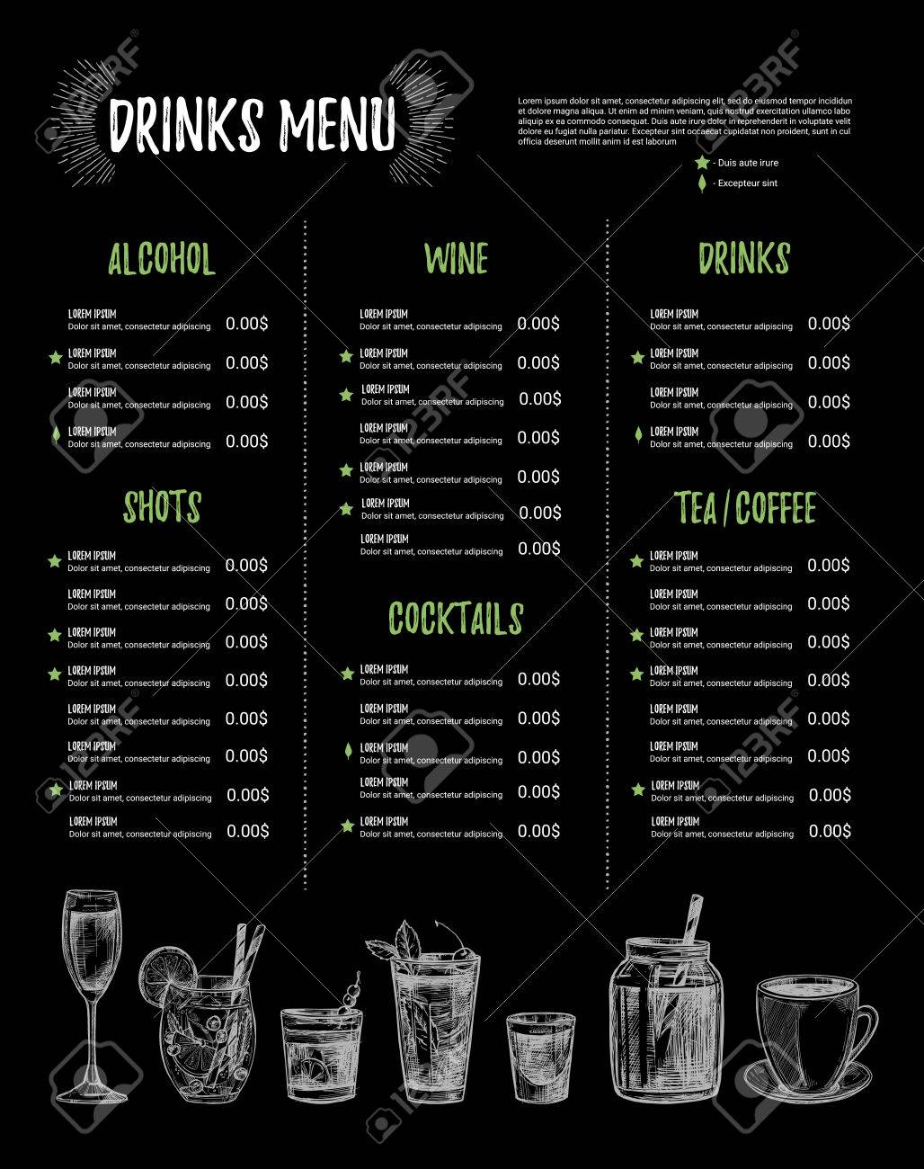 Hand Drawn Vector Illustration   Bar Menu. Template Of Restaurant Menu With  Illustrations In Sketch