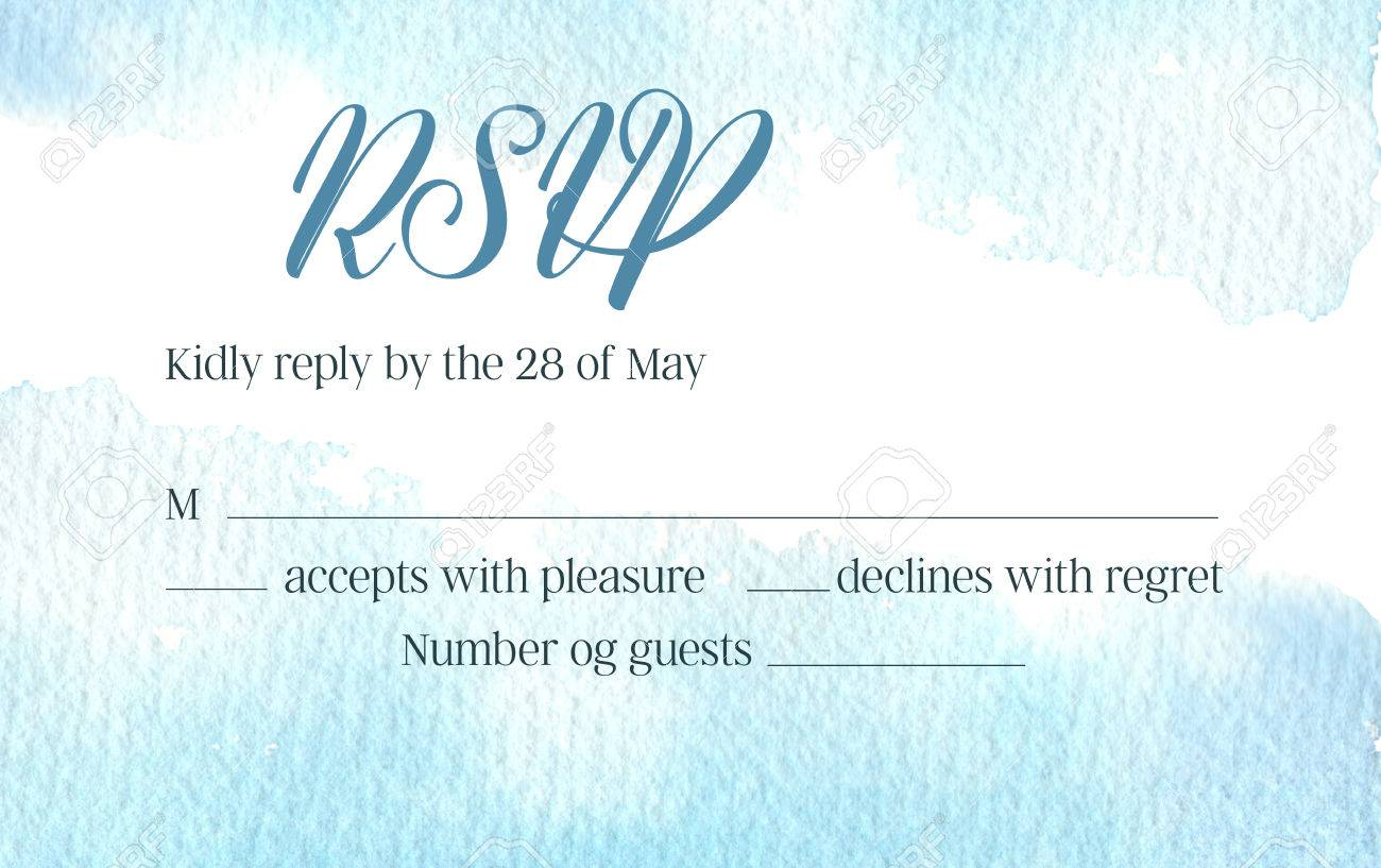 Hand Drawn Watercolor Illustration Rsvp Invitation With Abstract