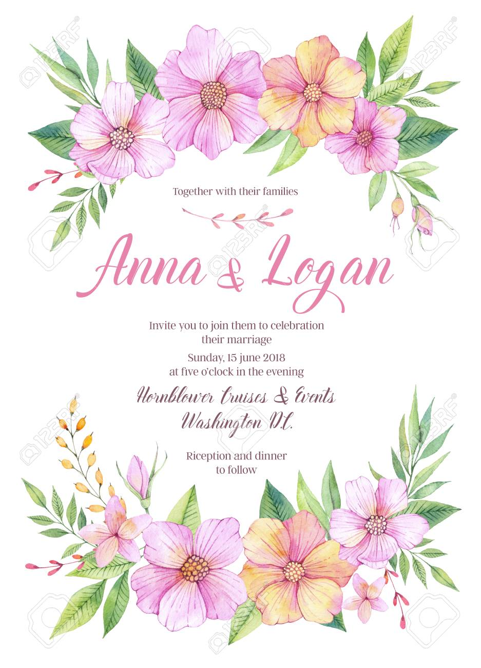 Hand drawn watercolor illustration wedding invitation with leaves wedding invitation with leaves and flowers watercolor ready to use card save the date perfect for invitations greeting cards blogs posters and more stopboris Image collections