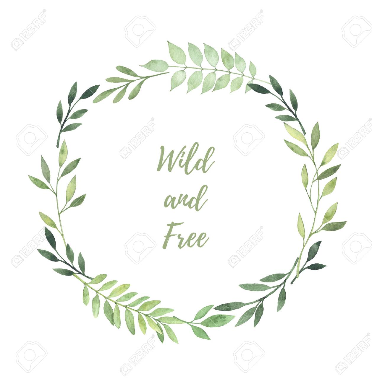 手描き水彩イラスト葉と枝を持つ月桂樹のリース結婚式招待状