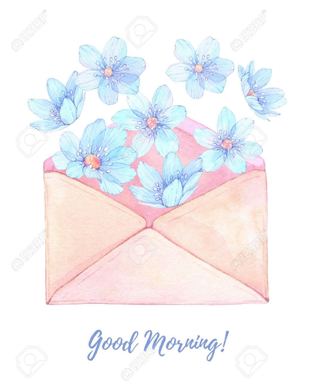 水彩イラスト青い花と花のメッセージ花の封筒カードを使用する準備