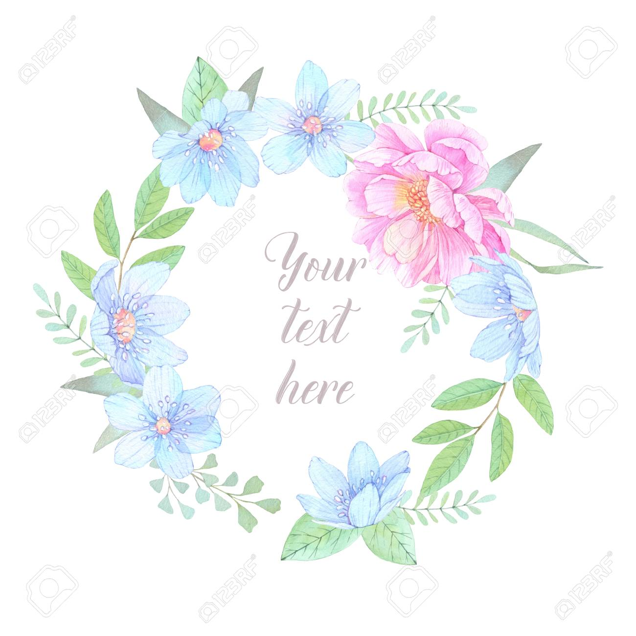 Watercolor illustration floral wreath with leaves peonies and blue floral wreath with leaves peonies and blue flowers perfect for wedding invitation or greeting card ready to use card save the date izmirmasajfo
