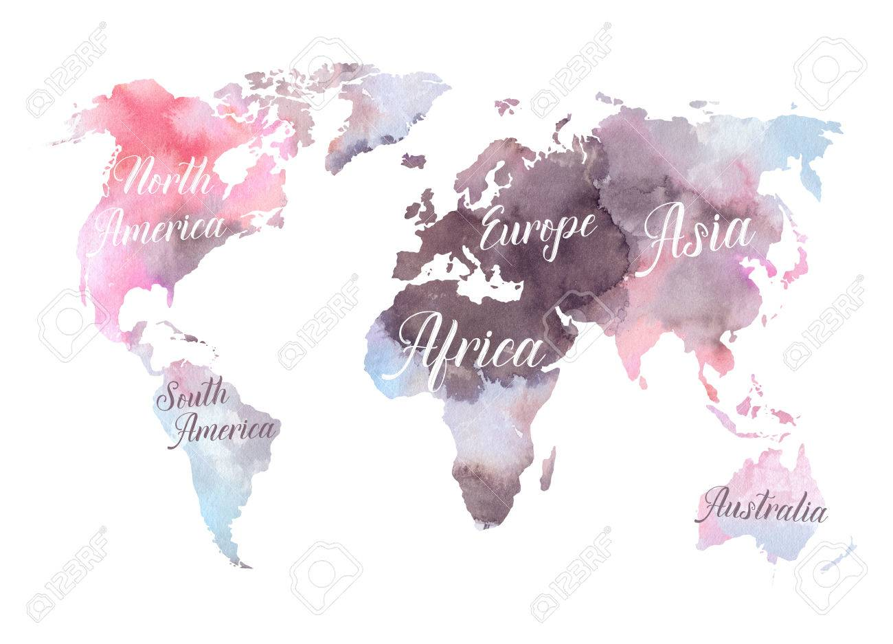 Watercolor Illustration Colorful World Map With The Names Of - Colorful world map