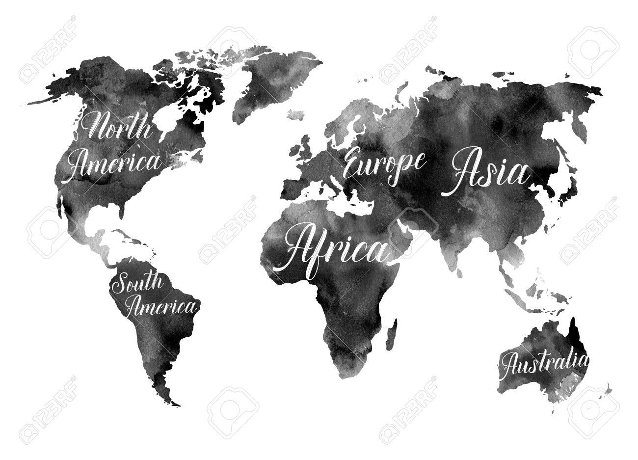 Watercolor illustration black world map with the names of the black world map with the names of the continents watercolor abstract background perfect for wedding invitations greeting cards prints gumiabroncs Gallery