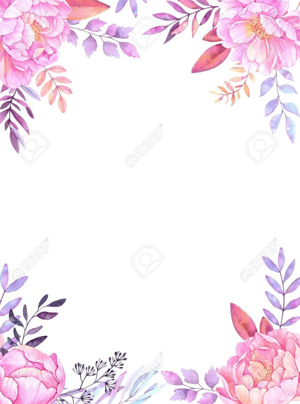 dibujado a mano ilustración acuarela marco con hojas ramas y